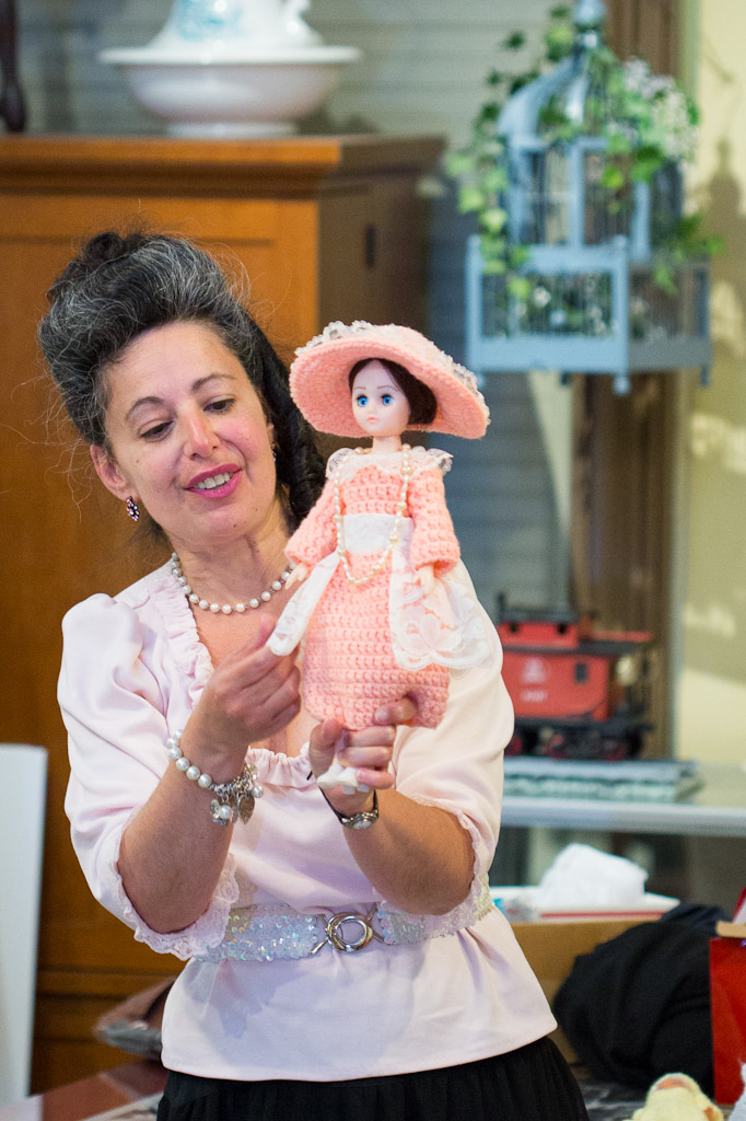 Darlene talks about her period costumed dolls