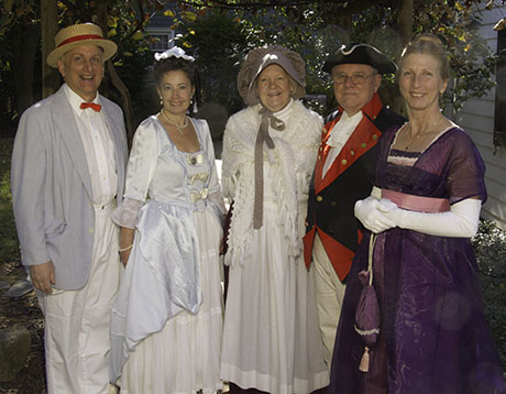 Pictured left to right: David Bierman – President , Darlene Palombo - Assistant clothing curator, Florence Clark – docent, George Pierson – genealogist, and Renate Maroney - clothing curator