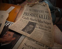Newspaper from the day John F. Kenndedy died
